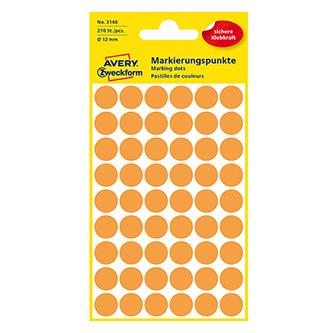 Avery Zweckform etikety 12mm, oranžové, 54 etiket, značkovací, baleno po 5 ks, 3148, pro ruční popis