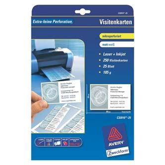 Avery Zweckform vizitky, s hladkým okrajem, 10ks/A4 typ matné, bílé, A4, 185 g/m2, 85x54mm, 25 listů, pro inkoustové a laserové ti