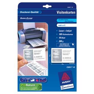 Avery Zweckform vizitky, matné, bílé, A4, 200 g/m2, 85x54mm, 10 listů, pro laserové a inkoustové tiskárny, O