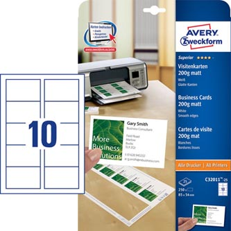Avery Zweckform vizitky, matné, bílé, A4, 200 g/m2, 85x54mm, 25 listů, pro laserové a inkoustové tiskárny, O