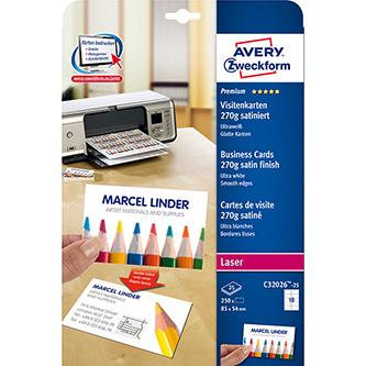 Avery Zweckform, vizitky, s hladkým okrajem, bílé, matné, A4, 270 g/m2, 85x54mm, 10ks/A4, 25 listů, pro inkoustové a laserové tisk