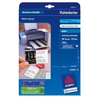 Avery Zweckform, vizitky, struktura plátna, A4, 260 g/m2, 85x54 mm, 10 listů, pro inkoustové tiskárny, O