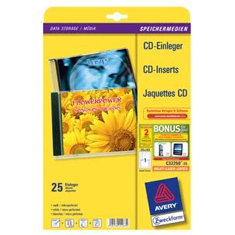 Avery Zweckform, CD papírový přebal, bílý, 151 x 118 mm, 25 listů, pro inkoustové tiskárny, O