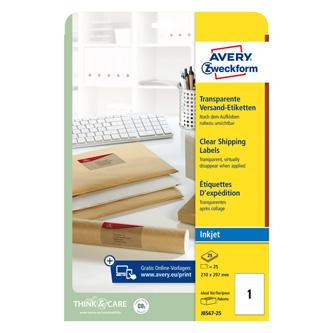 Avery Zweckform etikety 210mm x 297mm, A4, průhledné, transparentní, 1 etiketa, baleno po 25 ks, J8567-25, pro inkoustové tiskárny