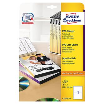 Avery Zweckform DVD papírový přebal, bílý, 273 x 183 mm, 25 listů, pro inkoustové tiskárny, O