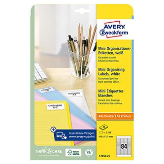 Avery Zweckform etikety 46mm x 11.1mm, A4, bílé, 84 etiket, baleno po 25 ks, L7656-25, pro inkoustové a laserové tiskárny
