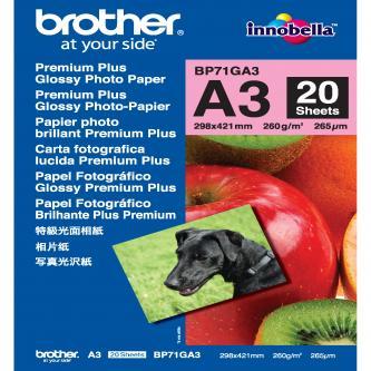Brother Glossy Photo Paper, foto papír, lesklý, bílý, A3, 260 g/m2, 20 ks, BP71GA3, inkoustový