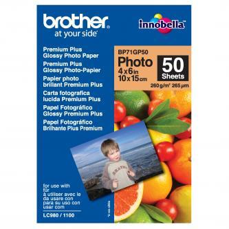 "Brother Premium Glossy Photo Paper, foto papír, lesklý, bílý, 10x15cm, 4x6"", 260 g/m2, 50 ks, BP71GP50, inkoustový"