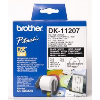 Brother etikety na CD 58mm, bílá, filmová role, 100 ks, DK11207, pro tiskárny řady QL