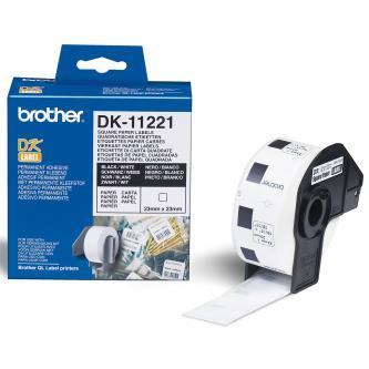 Brother papírové štítky 23mm x 23mm, bílá, 1000 ks, DK11221, pro tiskárny řady QL