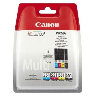 """Canon CLI-551 multipack (CMYK) + PP-201 fotopapír 50x, foto papír, výtěžnost 4x7ml typ lesklý, bílý, 10x15cm, 4x6"""", 50 ks, 6508B00"""