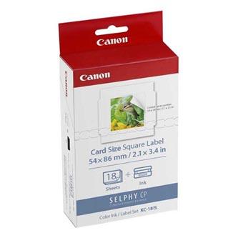 Etikety Canon Selphy CP XXX, bílá, 18, ks KC18IS, pro termosublimační tiskárny, 54x86mm, včetně napařovací folie