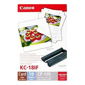Etikety Canon Selphy CP XXX, bílá, 18, ks KC18IF, pro termosublimační tiskárny, 86x54mm, včetně napařovací folie