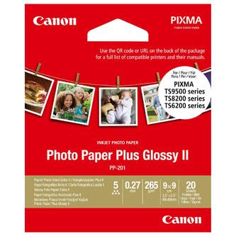"""Canon Photo Paper Plus II, foto papír, lesklý, čtvercový, bílý, PIXMA TS9500, TS8200 a TS6200, 8.89x8.89cm, 3.5x3.5"""", 265 g/m2, 20"""