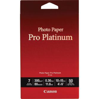 """Canon Photo Paper Pro Platinum PT-101, foto papír, lesklý, bílý, 10x15cm, 4x6"""", 300 g/m2, 50 ks, 2768B014, inkoustový"""