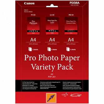 Canon Photo Paper Pro Variety Pack PVP-201, foto papír, bílý, A4, 15 ks, 6211B021, inkoustový,5x matný PM-101, 5x lesklý PT-101, 5