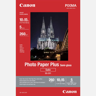 "Canon Photo Paper Plus Semi-Glossy, foto papír, pololesklý, saténový typ bílý, 10x15cm, 4x6"", 260 g/m2, 5 ks, 1686B072, inkoustový"
