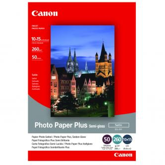 "Canon Photo Paper Plus Semi-Glossy, foto papír, pololesklý, saténový, bílý, 10x15cm, 4x6"", 270 g/m2, 50 ks, SG-201S, inkoustový"