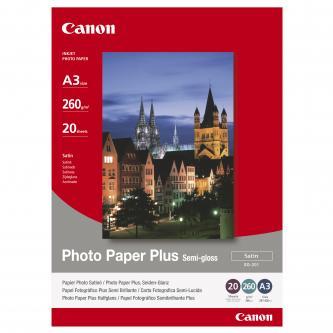 Canon Photo Paper Plus Semi-Glossy, foto papír, pololesklý, saténový typ bílý, A3, 260 g/m2, 20 ks, SG-201 A3, inkoustový