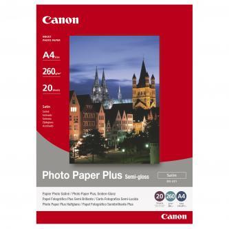 Canon Photo Paper Plus Semi-Glossy, foto papír, pololesklý, saténový typ bílý, A4, 260 g/m2, 20 ks, SG-201 A4, inkoustový