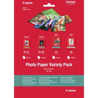 Canon Photo Paper Variety Pack VP-101, foto papír, 5x PP201, 5x SG201 (10x15cm), 5x MP101, 5x GP501 ( typ bílý, 20 ks, 0775B079, i