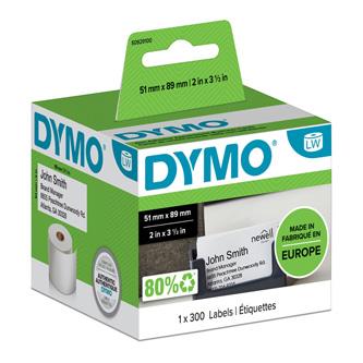 Dymo papírové štítky 89mm x 51mm, bílé, pro vizitky, bez lepidla, 300 ks, S0929100