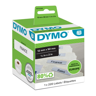 Dymo papírové štítky 50mm x 12mm, bílé, na závěsné pořadače, 220 ks, 99017, S0722460