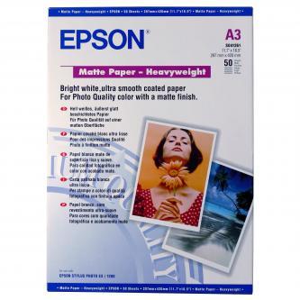 Epson Matte Paper Heavyweight, foto papír, matný, silný, bílý, Stylus Photo 1270, 1290, A3, 167 g/m2, 50 ks, C13S041261, inkoustov