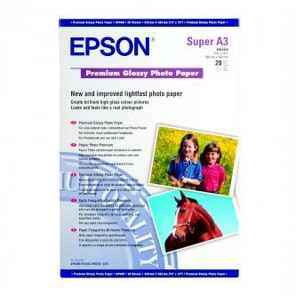 Epson Premium Glossy Photo Paper, foto papír, lesklý, bílý, Stylus Photo 890, 895, 1270, 2100, A3+, 255 g/m2, 20 ks, C13S041316, i