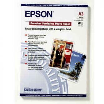 Epson Premium Semigloss Photo Paper, foto papír, pololesklý, bílý, Stylus Photo 1290, 2100, A3, 251 g/m2, 20 ks, C13S041334, inkou