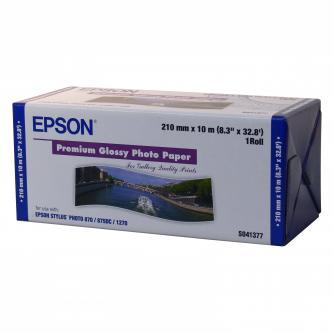 "Epson fotopapír, 210/10/Premium Glossy Photo Paper Roll, lesklý, 8"", C13S041377, 255 g/m2, foto papír, 210mmx10m, bílý, pro inkous"