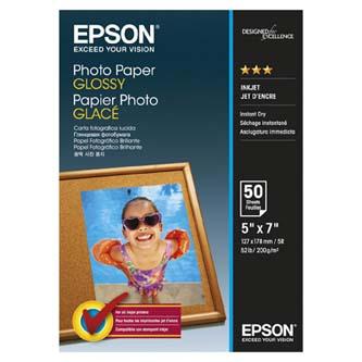Epson Glossy Photo Paper, foto papír, lesklý, bílý, 13x18cm, 200 g/m2, 50 ks, C13S042545, inkoustový