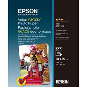 Epson Value Glossy Photo Paper, foto papír, lesklý, bílý, 10x15cm, 183 g/m2, 100 ks, C13S400039, inkoustový