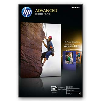 "HP Advanced Glossy Photo Paper, foto papír, lesklý, zdokonalený, bílý, 10x15cm, 4x6"", 250 g/m2, 25 ks, Q8691A, inkoustový,bez okra"
