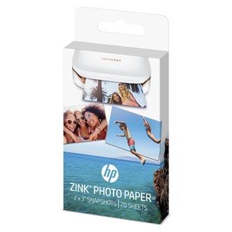 """HP ZINC Sticky-Backed Photo Paper, foto papír, bez okrajů typ lesklý, Zero Ink typ bílý, 5,1x7,6cm, 2x3"""", 20 ks, W4Z13A, termální"""