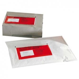 Obálka nalepovací, C5, 240 x 180mm, průhledná, s červeným potiskem, 100ks