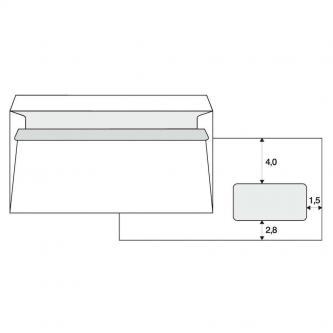 Obálka samolepicí, 110 x 220mm, bílá, poštovní, s DL okénkem, 1000ks
