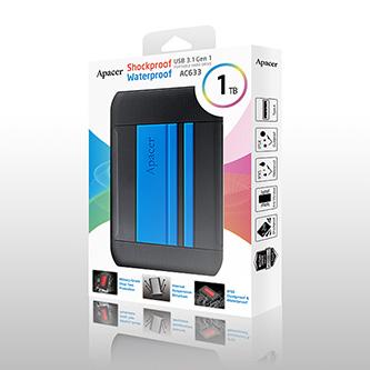 "Apacer externí pevný disk, AC633, 2.5"", USB 3.0 (3.2 Gen 1), 1TB, AP1TBAC633U-1, modrý, otřesuvzdorný, odolnost proti prachu a vod"