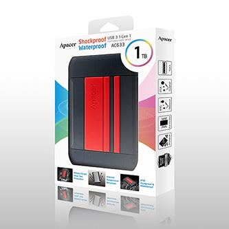 """Apacer externí pevný disk, AC633, 2.5"""", USB 3.0 (3.2 Gen 1), 1TB, AP1TBAC633R-1, červený, otřesuvzdorný, odolnost proti prachu a v"""
