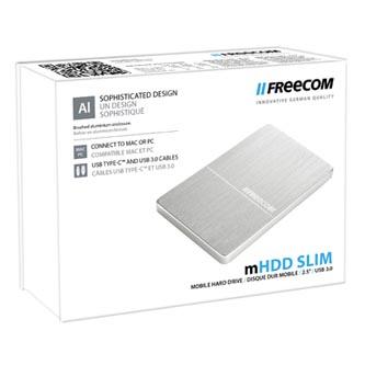 "Freecom externí pevný disk, Slim Mobile Drive Metal, 2.5"", USB 3.0, 1TB, 1000GB, 56370, stříbrný"
