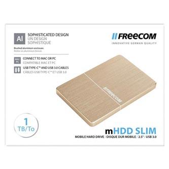 "Freecom externí pevný disk, Slim Mobile Drive Metal, 2.5"", USB 3.0, 1TB, 1000GB, 56371, zlatý"