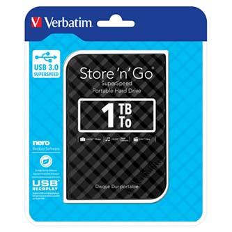 """Verbatim externí pevný disk, Store N Go, 2.5"""", USB 3.0 (3.2 Gen 1), 1TB, 53194, černý"""