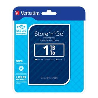 "Verbatim externí pevný disk, Store ,n, Go, 2.5"", USB 3.0, 1TB, 53200, modrý"