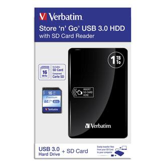 """Verbatim externí pevný disk s vbudovanou čtečkou paměťových karet, Store,n,Go, 2.5"""", USB 3.0, 1TB, 53421, černý, + SD karta 16 GB"""