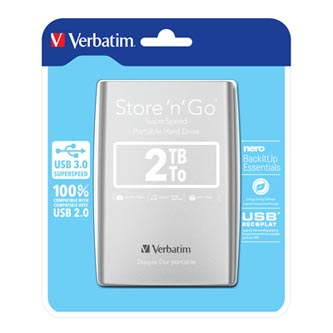 "Verbatim externí pevný disk, Store,n,Go, 2.5"", USB 3.0, 2TB, 2000GB, 53189, stříbrný"