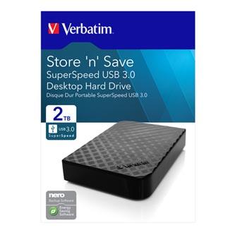 """Verbatim externí pevný disk, Store,N,Save, 3.5"""", USB 3.0, 2TB, 47683, černý"""