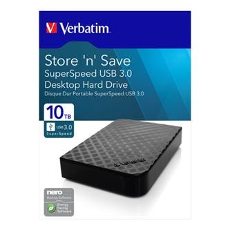 "Verbatim externí pevný disk, Store ,n, Save, 3.5"", USB 3.0, 10TB, 47669, černá"
