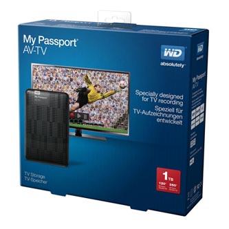 "Western Digital externí pevný disk, My Passport AV-TV, 2.5"", USB 3.0, 1TB, 1000GB, WDBHDK0010BBK-EESN, černý"