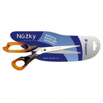 Nůžky jantarové, 215mm, plastová madla