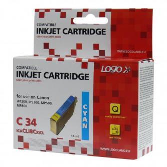 Logo kompatibilní ink s CLI8C, cyan, 14ml, pro Canon iP4200, iP5200, iP5200R, MP500, MP800, s čipem